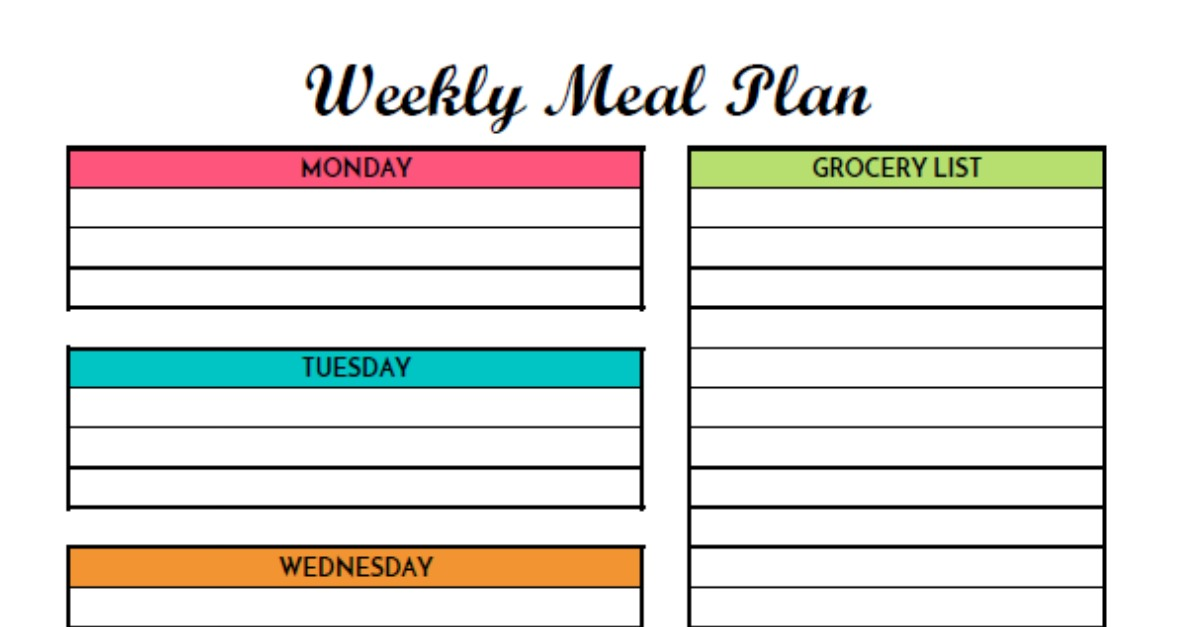 Free weekly meal planning printable with grocery list for Free weekly meal planner template