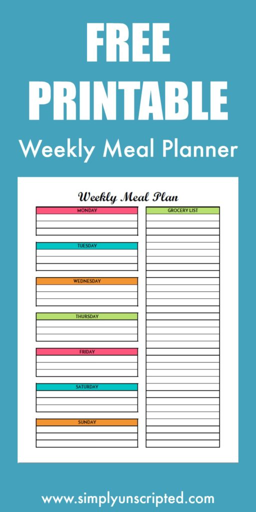 Save money on your grocery bill by menu planning. Create your breakfast, lunch, and dinner menus with this free meal planning printable with grocery list.