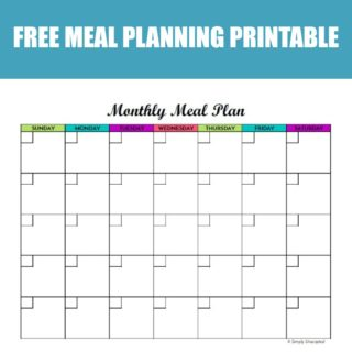 It's easy to plan your meals with this free printable menu planner. Featuring a calendar layout, this monthly meal planning printable allows you to meal plan weekly or for the entire month at once!