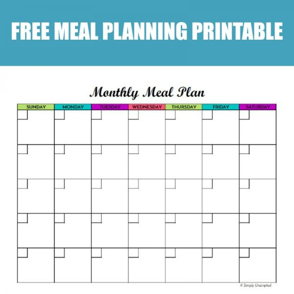 Monthly Meal Planner Printable Template