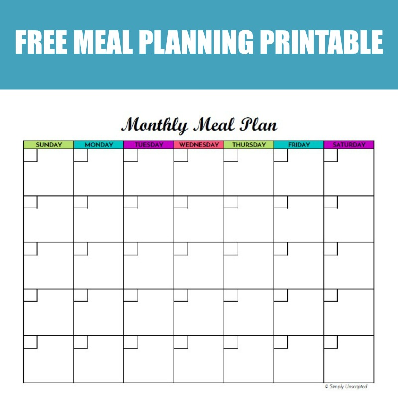 Free Monthly Meal Planner Printable: Calendar Template For