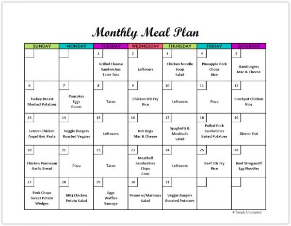 Free monthly meal planner printable calendar template for for Monthly dinner calendar template