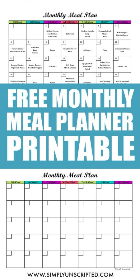 photo relating to Weekly Menu Planner Printable titled Totally free Regular monthly Dinner Planner Printable: Calendar Template For