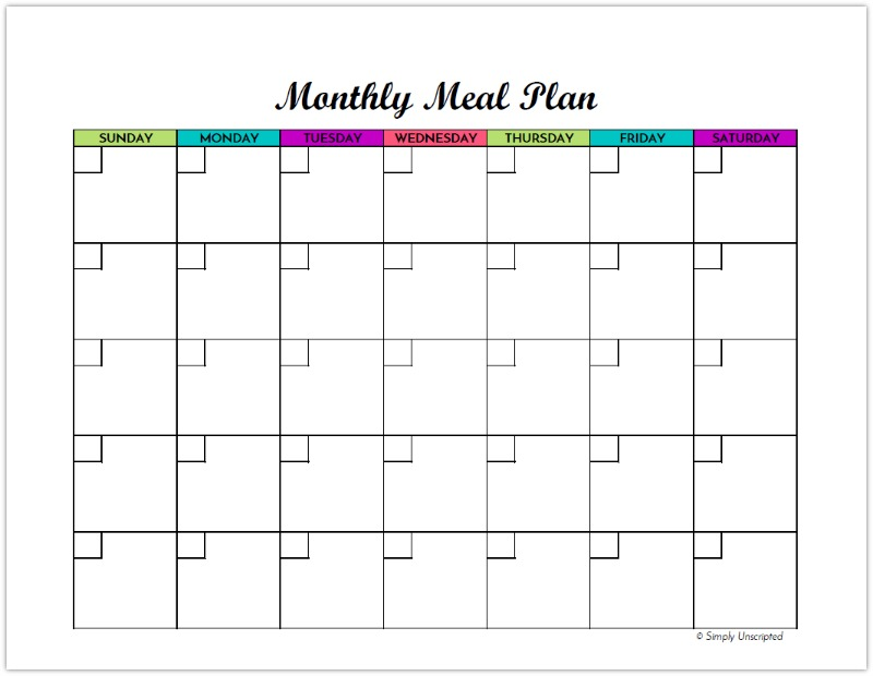 image relating to Free Printable Meal Plan Template named Absolutely free Every month Supper Creating Template - Quickly Unscripted