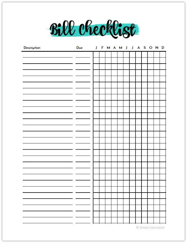 photograph relating to Monthly Bill Tracker Printable identified as Totally free Monthly bill Charge Listing Printable Tracker