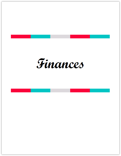 Finances Cover for Budget Binder