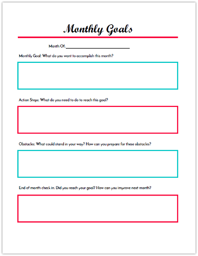 Monthly Goals Worksheet for Budget Binder