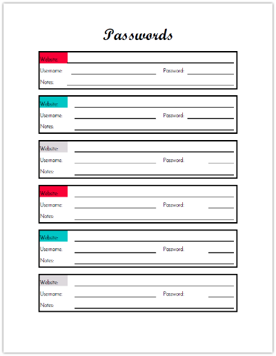 Password Tracker for Budget Binder